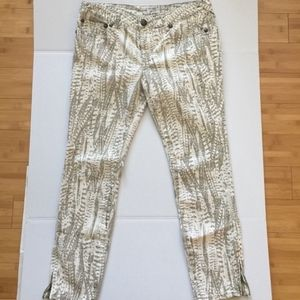 Free People High Waist Brown and White Skinny Jean